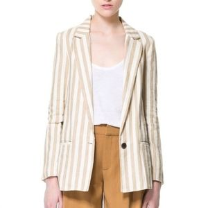 Zara striped linen blazer ivory tan stripes large